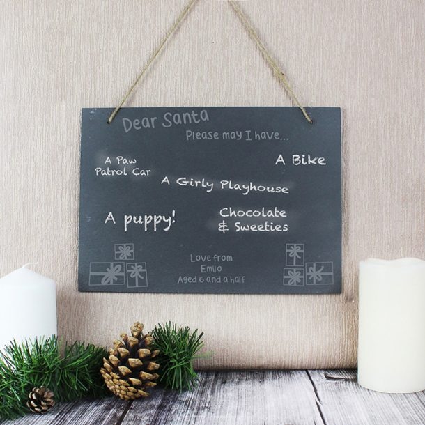 Personalised Christmas Wish List Hanging Large Slate Sign