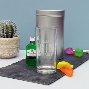 Personalised Gin and Bear It Hi Ball Glass Gift Set
