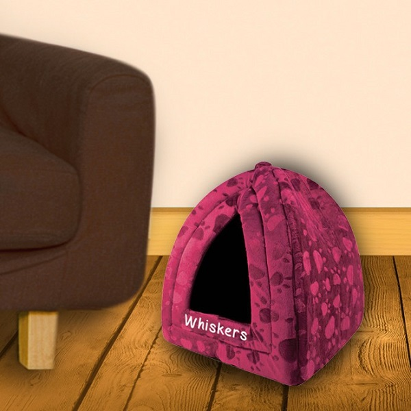 Personalised Maroon Pyramid Pet Bed