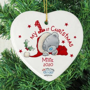 Personalised Me to You My 1st Christmas Ceramic Heart Decoration