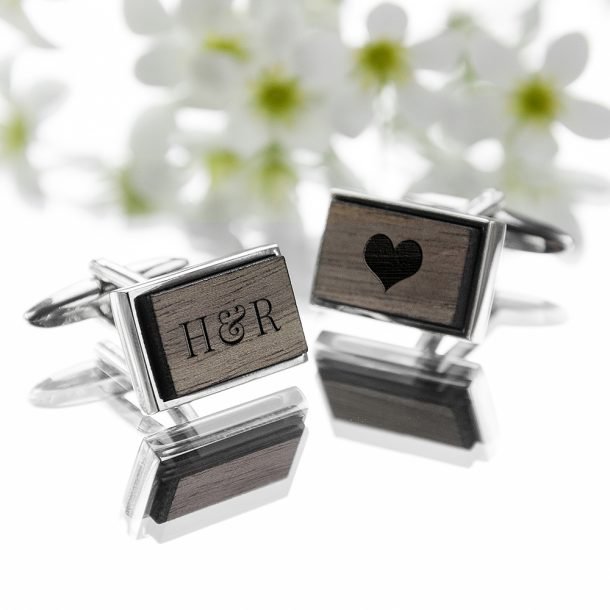 Personalised Rectangle Walnut Wood Cufflinks