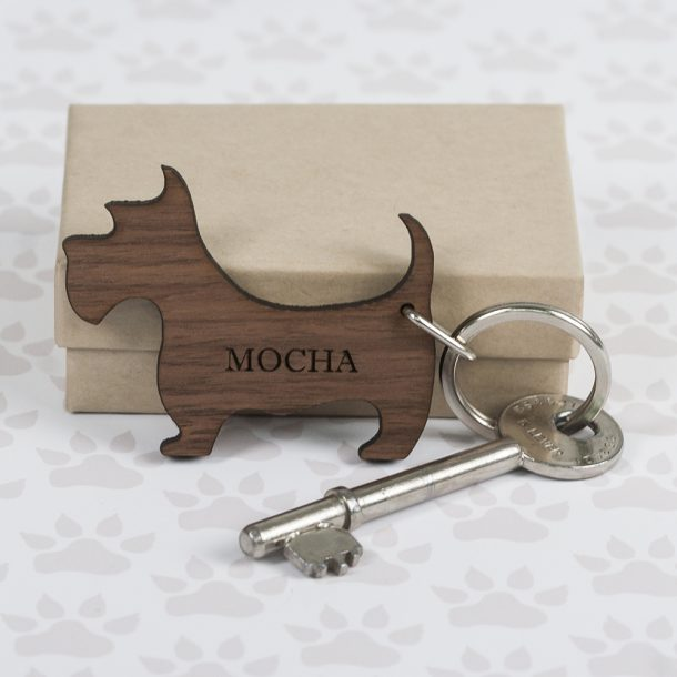 Personalised Walnut Wood Scottie Dog Keyring