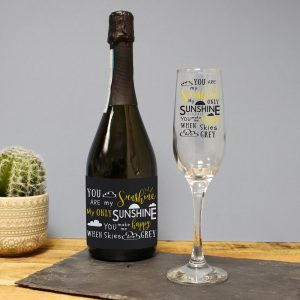 Personalised You Are My Sunshine Prosecco Gift Set