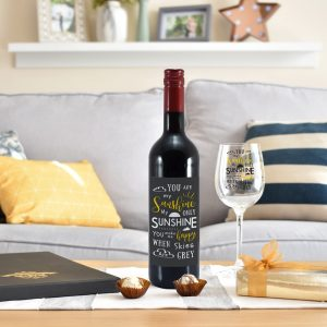 Personalised You Are My Sunshine Red Wine Gift Set