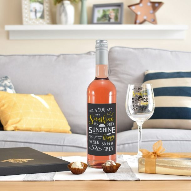 Personalised You Are My Sunshine Rosé Wine Gift Set