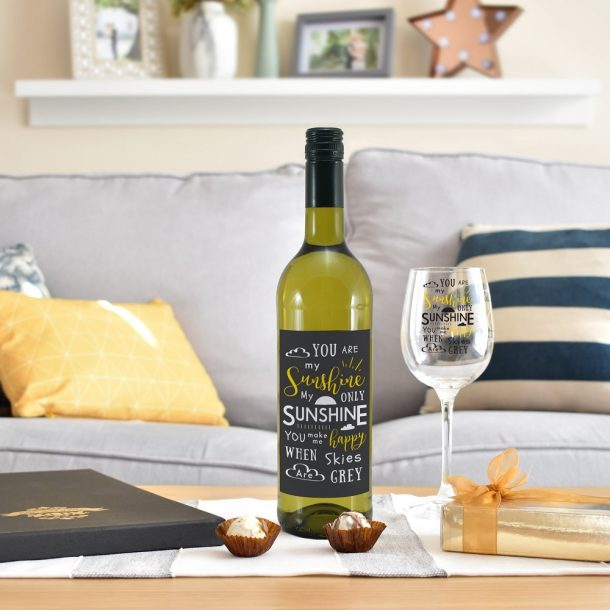Personalised You Are My Sunshine White Wine Gift Set