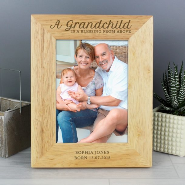 Personalised A Grandchild is a Blessing Wooden Photo Frame