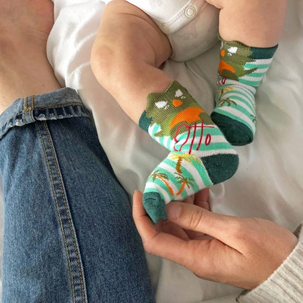 Personalised Baby Dinosaur Socks