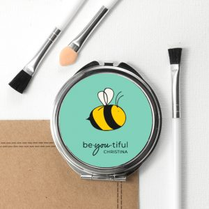 Personalised Bee You Round Compact Mirror