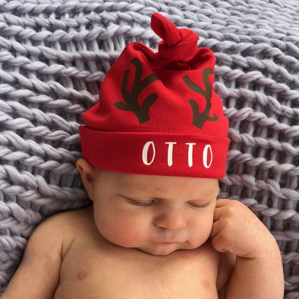 Personalised Christmas Reindeer Baby Hat