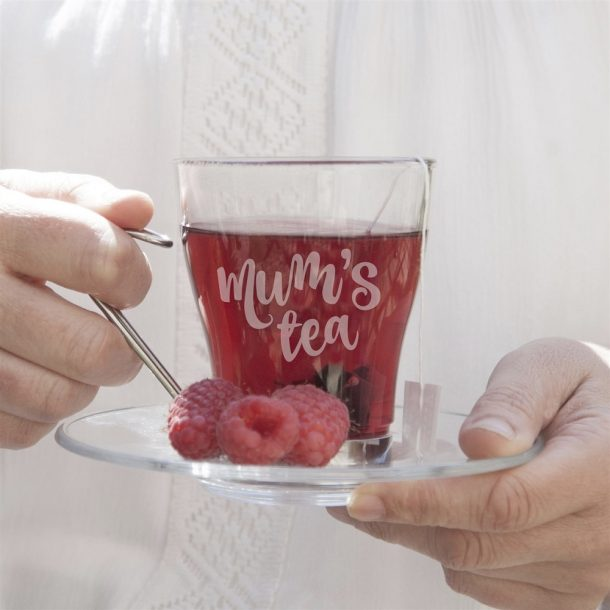 Personalised Glass Tea Cup & Saucer