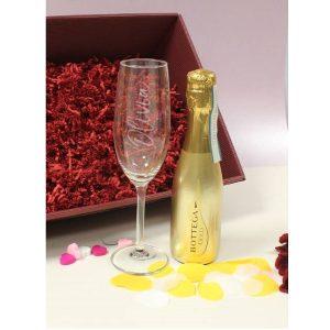 Personalised Gold Bottega & Flute Set