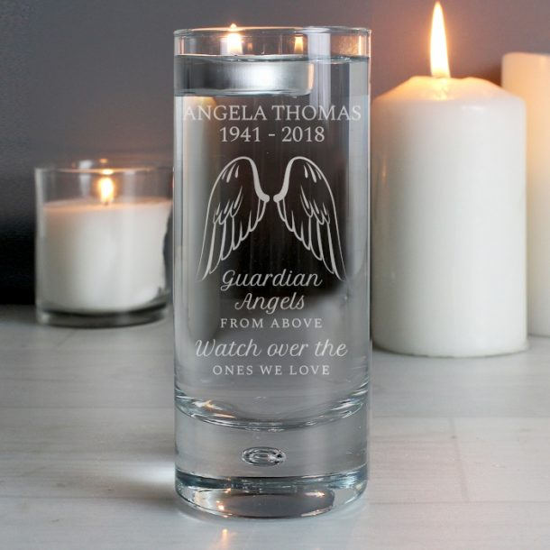 Personalised Guardian Angel Wings Floating Candle Holder