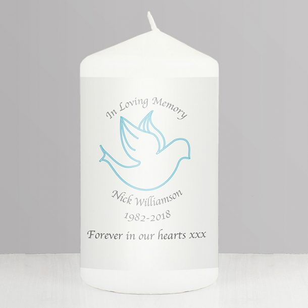 Personalised In Loving Memory Blue Dove Candle