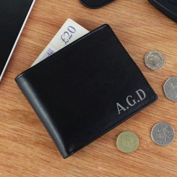 Personalised Initial Black Leather Wallet