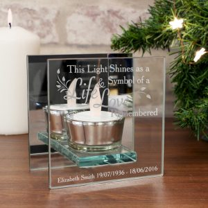 Personalised Life & Love Mirrored Glass Tea Light Holder