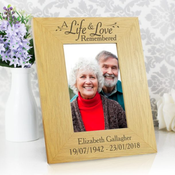 Personalised Life & Love Oak Finish 4x6 Photo Frame