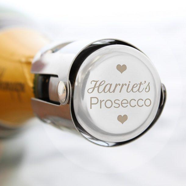 Personalised Love Heart Prosecco Bottle Stopper