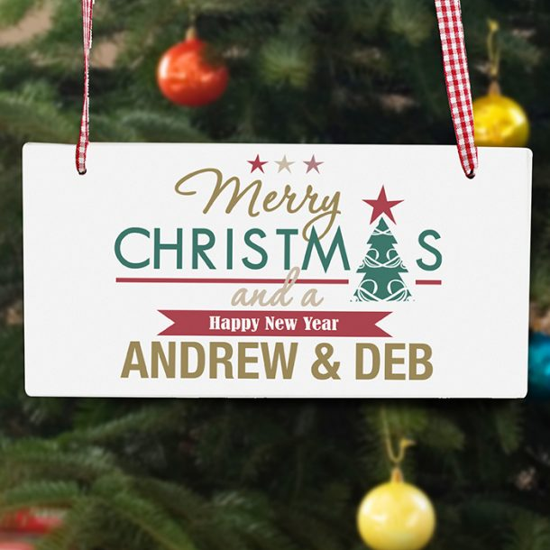 Personalised Merry Christmas & A Happy New Year Wooden Sign