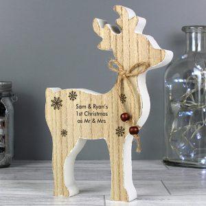 Personalised Message Rustic Wooden Reindeer Decoration