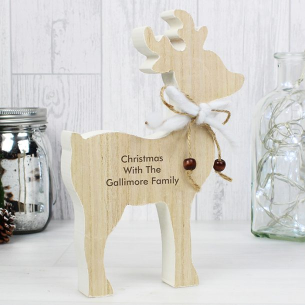 Personalised Message Rustic Wooden Reindeer Decoration