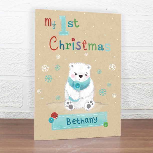 Personalised Polar Bear My 1st Christmas Cards