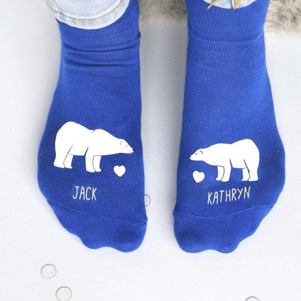 Personalised Polar Bears In Love Socks