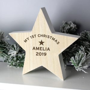Personalised Rustic Wooden Star Decoration