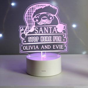 Personalised Santa Stop Here LED Colour Changing Night Light