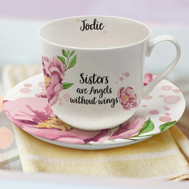 Personalised Sentiments Cup & Saucer