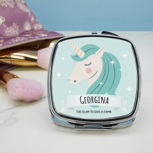 Personalised Sparkle Squad Square Blue Compact Mirror