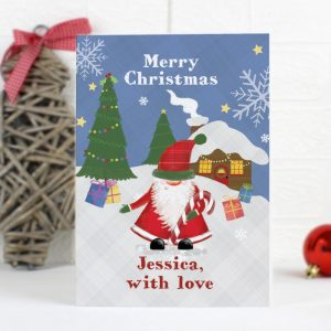 Personalised Tartan Santa Cards