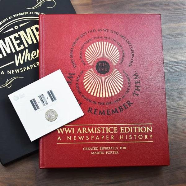 Personalised WWI Armistice Edition Newspaper Book