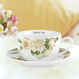 Personalised White Floral Cup & Saucer