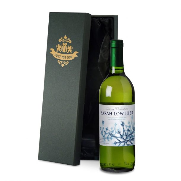 Personalised Winter Snow White Wine & Gift Box