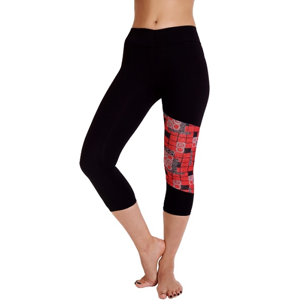 Josie Black & Red Geometric Print Capri Gym Pants