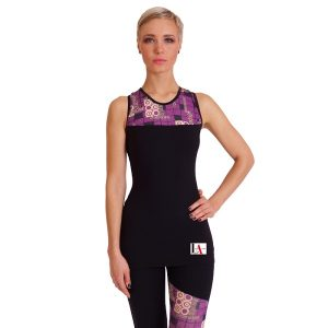 Nadia Black & Purple Geographic Print Gym Top