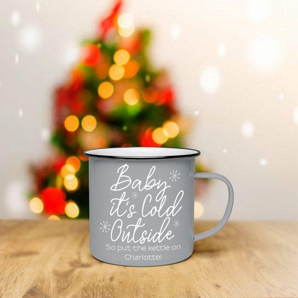 Personalised Baby It's Cold Outside Grey Enamel Mug