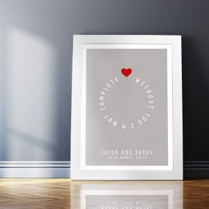 Personalised Circle of Love Couple A4 Framed Poster