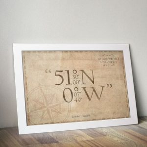 Personalised Coordinates A4 Framed Poster