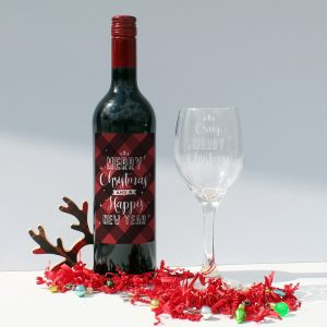 Personalised Merry Christmas Red Wine Gift Set