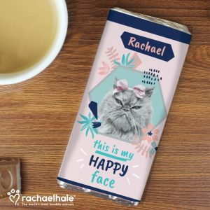 Personalised Rachael Hale Happy Face Cat Chocolate Bar