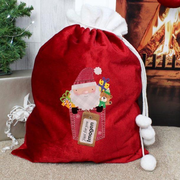 Personalised Santa Claus Luxury Pom Pom Sack
