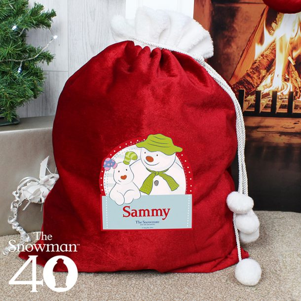 Personalised The Snowman & The Snowdog Luxury Pom Pom Sack