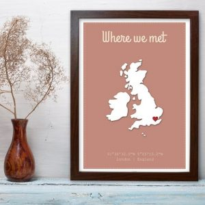 Personalised Where We Met A4 Framed Poster