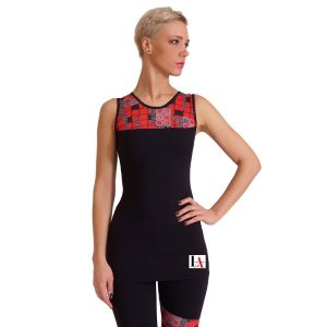 Rose Black & Red Geometric Print Gym Top