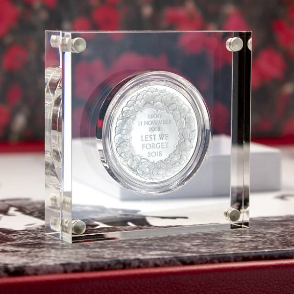 Silver Royal Mint 100th Anniversary Armistice Collection Box