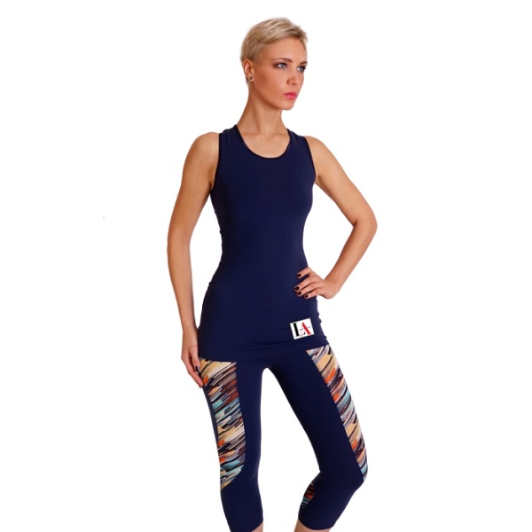 Sofia Navy & StripedPrint Gym Top