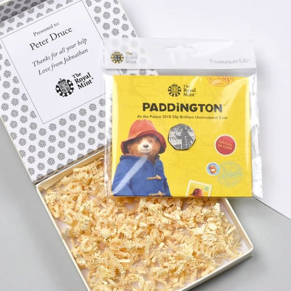 Uncirculated Paddington 50pence & Personalised Gift Box