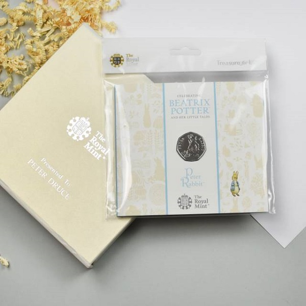 Uncirculated Peter Rabbit 50pence & Personalised Gift Box
